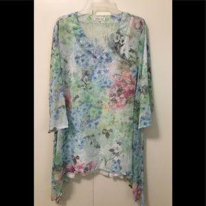 Indigo Soul Sz XL Polyester Tunic Floral Sheer